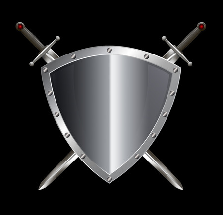 riveted: Silver riveted shield and two swords on black background.
