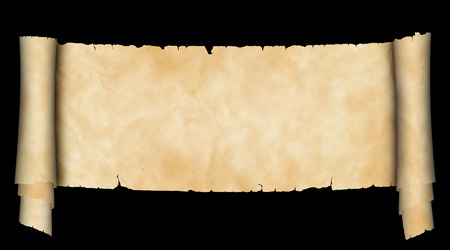 parchment texture: Scroll of ancient parchment. Isolated on black background. Natural old paper texture.