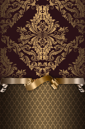 Old-fashioned ornamental background with elegant gold ribbon and patterns. Vintage invitation card design. Stock Photo
