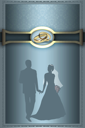 gold rings: Decorative background with elegant border,gold rings and silhouette of newlyweds.