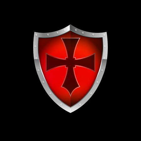 riveted: Medieval red shield with cross and silver riveted border. Isolated on black background.