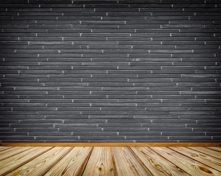 New Dark Brick Wall And Wooden Floor Background For The Design