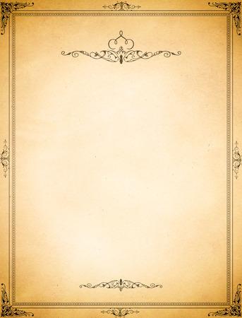coverbook: Vecchio sfondo di carta grunge e bordo decorativo vecchio stile.