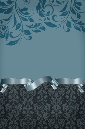 silver ribbon: Decorative background with floral old-fashioned patterns and elegant silver ribbon. Vintage invitation card design.