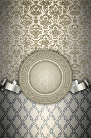 silver ribbon: Vintage background with decorative frame,old-fashioned patterns and elegant silver ribbon.