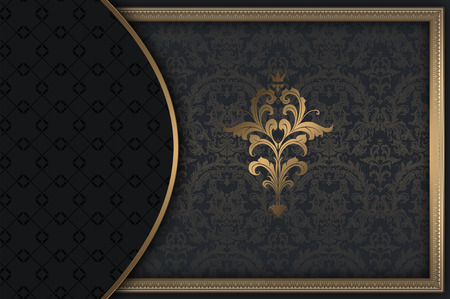 coverbook: Dark vintage background with decorative border and ornament.