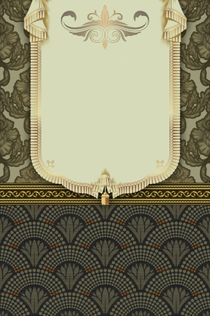 pennant: Vintage background with decorative pennant,old-fashioned border and patterns, Stock Photo