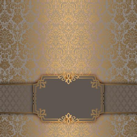 farme: Decorative background with old-fashioned gold ornament and elegant farme. Archivio Fotografico