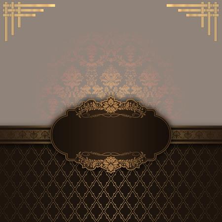 farme: Decorative background with old-fashioned gold ornament and elegant farme. Stock Photo