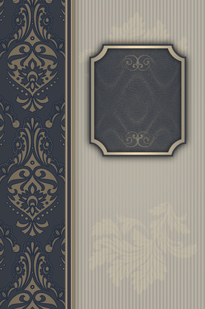 coverbook: Vintage background with old-fashioned patterns and frame for the text. Vintage invitation card design. Stock Photo