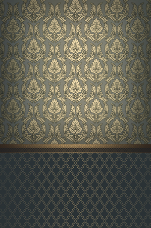 coverbook: Decorative background with old-fashioned ornament and vintage gold border.