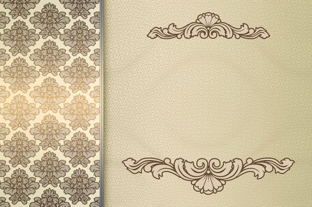 coverbook: Vintage invitation card design. Background with vintage patterns and copy space for the text.
