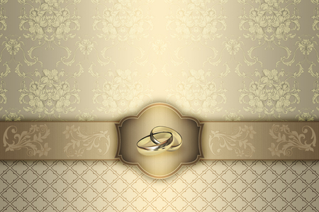 Decorative background with floral patterns and frame with gold wedding rings.
