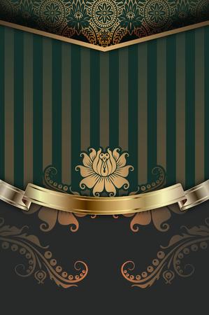 Vintage background with gold floral patterns,elegant ribbon and ornament. Vintage invitation card design. Stock Photo