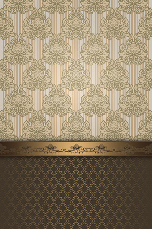 Vintage background with decorative old-fashioned patterns and decorative gold border.