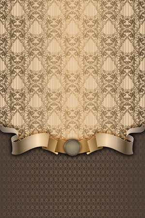 Vintage background with decorative ornament and elegant gold ribbon.
