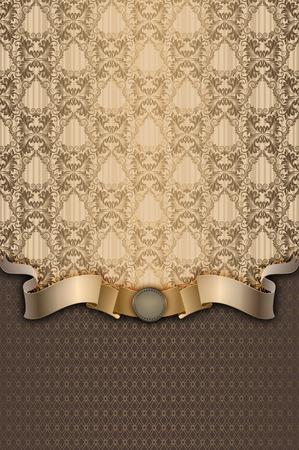 background vintage: Vintage background with decorative ornament and elegant gold ribbon.