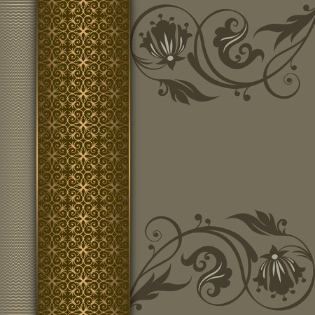 gold floral: Decorative vintage background with elegant floral patterns and decorative border with gold ornament.