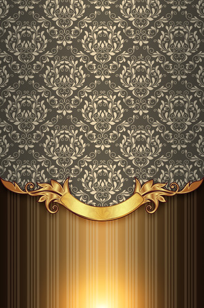 gold floral: Decorative vintage background with gold floral border and old-fashioned patterns. Stock Photo