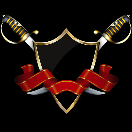ribbon background: Black shield with elegant red ribbon and two sabers on black background. Stock Photo