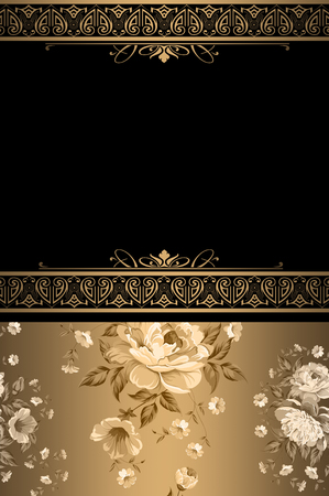 Vintage background with flowers and decorative old-fashioned border.