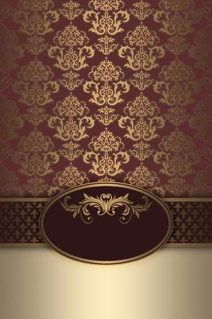 Vintage background with decorative gold ornament and elegant frame. Vintage invitation card design.