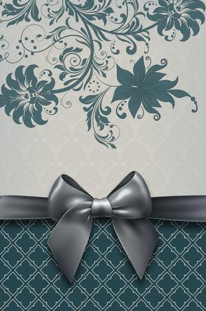 black bow: Floral background with elegant black bow and decorative patterns. Vintage background.