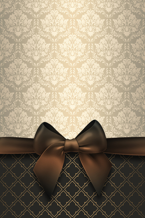 vintage invitation: Vintage background with elegant  bow and decorative patterns. Vintage background.