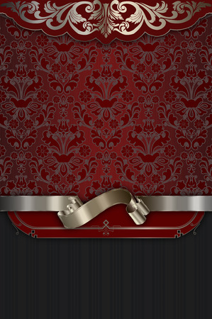 silver ribbon: Vintage red background with old-fashioned patterns and elegant silver ribbon.