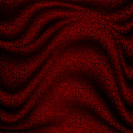 satin background: Red satin background with elegant floral patterns. Stock Photo