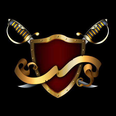 sabre: Medieval gold shield with two sabres and gold ribbon on black background. Stock Photo