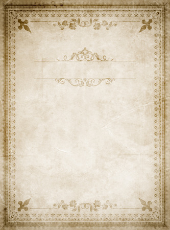 aging: Aging paper background with decorative old-fashioned border.