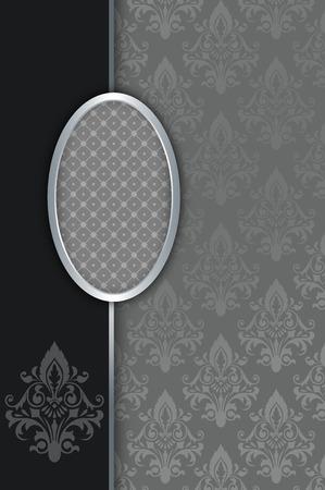 coverbook: Vintage background with decorative floral patterns and elegant silver frame. Vintage invitation card design. Stock Photo