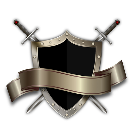 riveted: Heraldic riveted shield with elegant ribbon and two swords on white background. Stock Photo