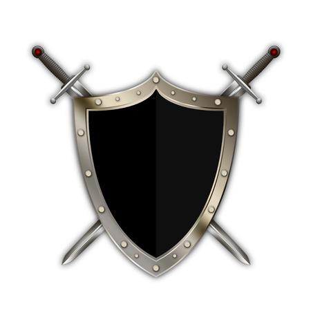 Heraldische geklonken schild en twee zwaarden op een witte achtergrond.
