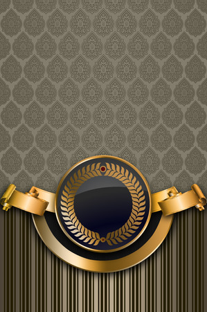coverbook: Decorative vintage background with old-fashioned patterns, gold ribbon and frame.