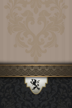 coverbook: Decorative vintage background with elegant old-fashioned border and patterns.