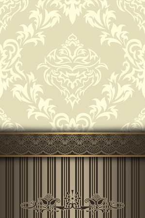 luxury template: Vintage background with floral pattern an decorative border. Vintage invitation card design.