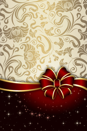gift bow: Decorative background with gold floral patterns and elegant red bow. Stock Photo