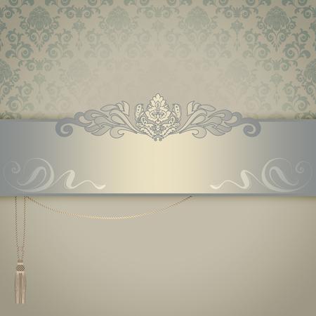 braid: Decorative background with elegant border, floral patterns and braid.