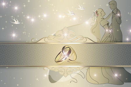 Wedding decorative background with gold wedding rings. Wedding invitation template.