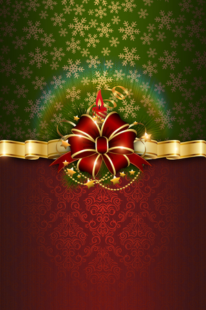 firtree: Decorative christmas background with gold ribbon,fir-tree,stars and decorative patterns. Christmas background design.