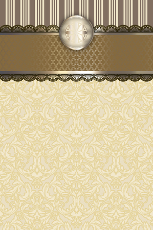 Vintage background with decorative border and elegant old-fashioned patterns.