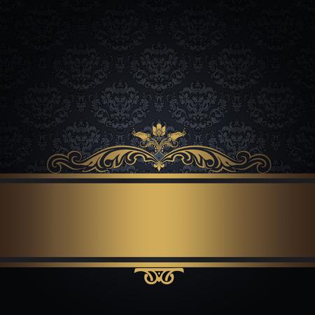 Vintage dark background with decorative border and elegant old-fashioned patterns.