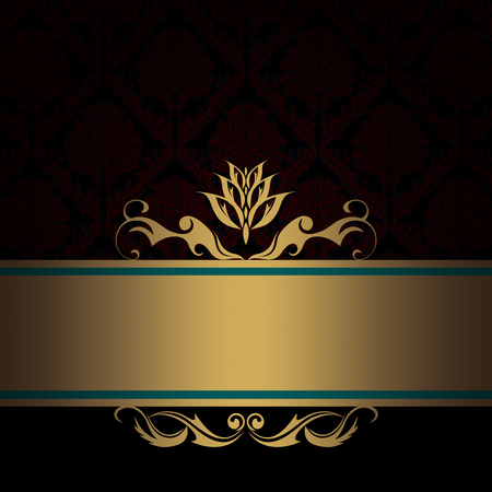 gold brown: Dark vintage background with old-fashioned patterns and decorative border. Vintage invitation card design.