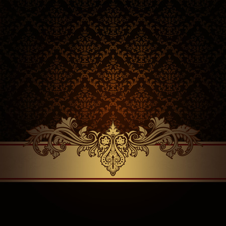 retro floral: Dark vintage background with old-fashioned patterns and decorative border. Vintage invitation card design.