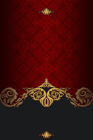 Red and gold vintage background with old-fashioned pattern and ornamental decorative border. Vintage invitation card design.