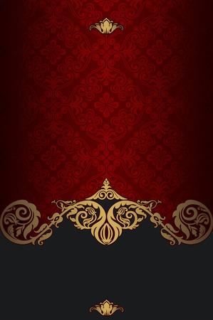 Rood en goud vintage achtergrond met ouderwetse patroon en de sier decoratieve grens. Vintage ontwerp van de uitnodigingskaart.