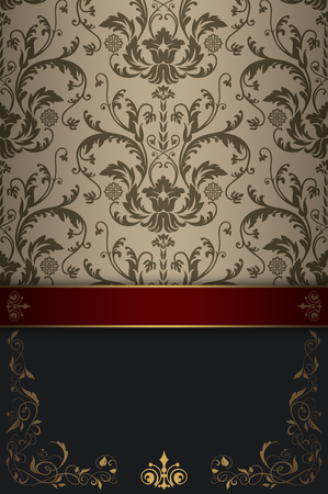 red wallpaper: Background with decorative floral patterns and space for the text. Vintage invitation card design.