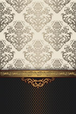 Fondo de la vendimia con motivos florales y la frontera del oro decorativo. Diseño de tarjeta de invitación de la vendimia.